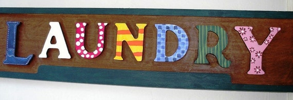 Wooden Handpainted Laundry Sign