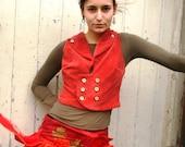 SALE Orange Velvet Waistcoat Vest Pirate Pixie Double breasted Military Style