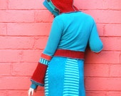 SALE :) Turquoise and Red Gypsy Striped Hooded Jumper Dress