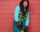 SALE :)Sweater dress Turquoise Multicolour Hooded Woolen Upcycled