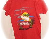 Vintage Retro 1970 Hanes Tee Shirt Smoking Grasshopper Football Style T-Shirt