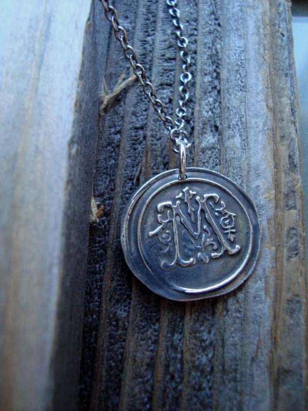 Love Letters M Wax Seal Necklace By Ichibann On Etsy