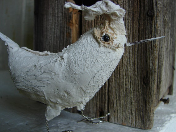 Folk Art Bird, Plaster Bird, White Bird