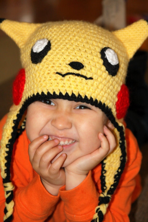 Pokemon Pikachu Yellow Crochet Beanie Ear Flap Hat, Photo Prop -ANY SIZE-