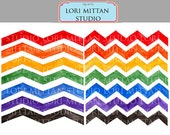 Rainbow Chevron Stripes Digital Clip Art, Zigzag clip art, Digital Files, for personal and commercial use