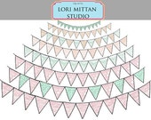 Shabby Chic Lace Bunting Banner Digital Clip Art, Banner digital Clipart, Digital Files, for personal and commercial use