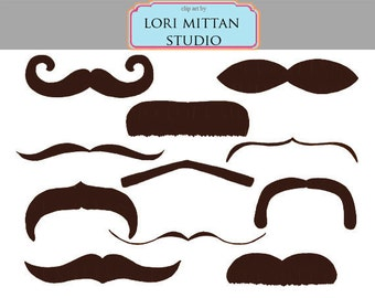 Brown Mustache Digital Clip Art, facial hair clip art, digital files, for personal and commercial use