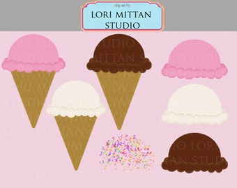 Ice Cream Cone Digital Clip Art, Ice cream clipart, digital files, for personal and commercial use