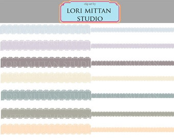 Digital Lace Borders for Scrapbooking, Invitations, Announcements, Flyers, Muted colors border clip art, Digital Files