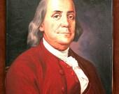 Vintage Benjamin Franklin Oil Painting On Canvas