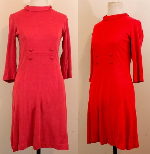 SALE 60s Mod Orange Long Sleeve Double Breasted Button Winter Dress