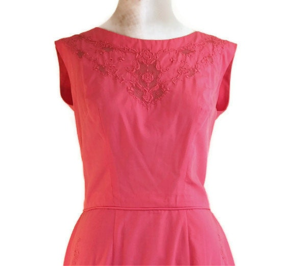 60s Coral Embroidered Summer Dress