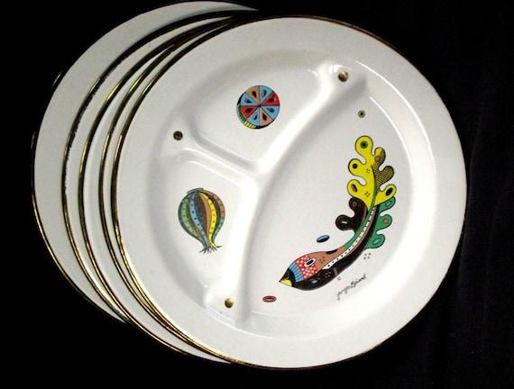 tin deco enameled plates