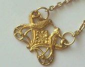 Clearance-Birds in Love...brass pendant necklace. Storybook collection.