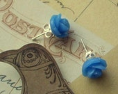 Blue Rose post earrings