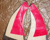 Hot Pink Cream Brown Leather Earrings