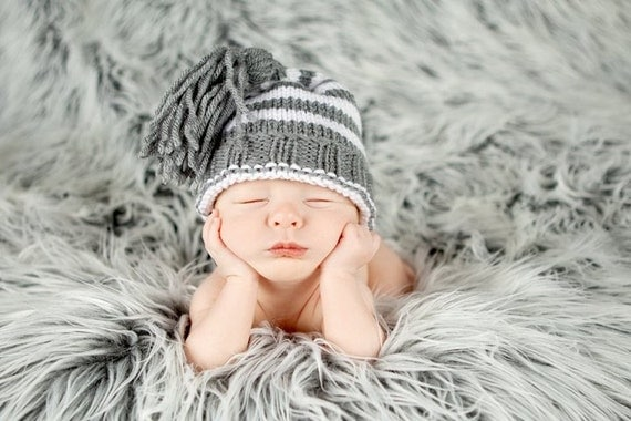 Hand Knit Newborn Size Pixie Tassel Style Hat Baby Boy or Girl- choose your colors