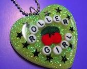 Roller Girl Resin Heart Necklace