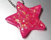 Resin Star Necklace  -  Super Shooting Star NEON Pink