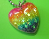 Resin Rainbow Glitter Pendant - Neon Rainbow Love Heart Stripe