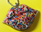 Sweet Kiss Lips Necklace - Resin Rainbow Lips Necklace