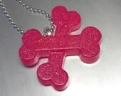 CrossBones Resin Necklace  -  Neon PINK Glitter Necklace