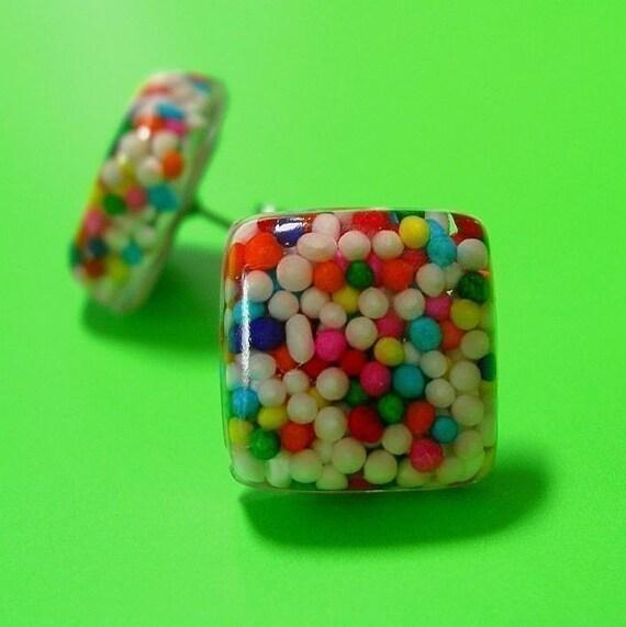 Resin Rainbow Sprinkle Earrings - Micro Cubes