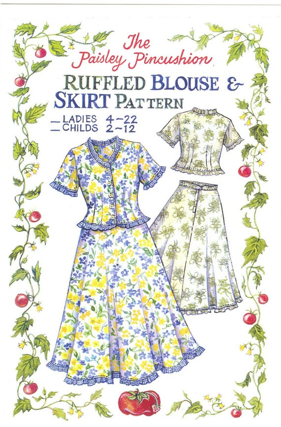 Ruffled Blouse and Skirt Pattern  Ladies sizes