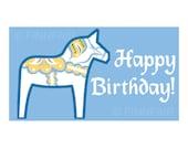 eOriginal - Print Your Own Swedish Folk Art Happy Birthday 'DALA HORSE' STICKERS