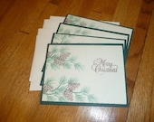 pine bough Christmas card set