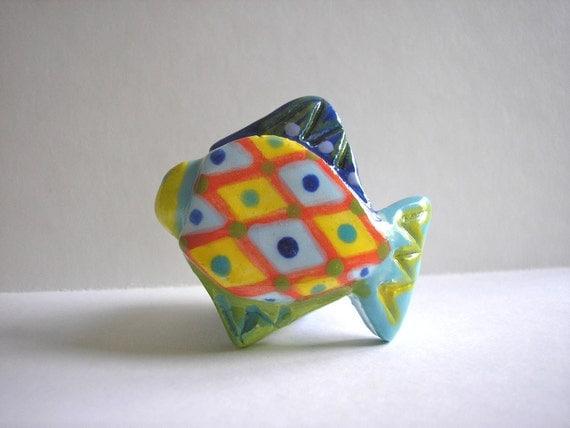Ceramic Fish Knob, Drawer Pull, One of a Kind