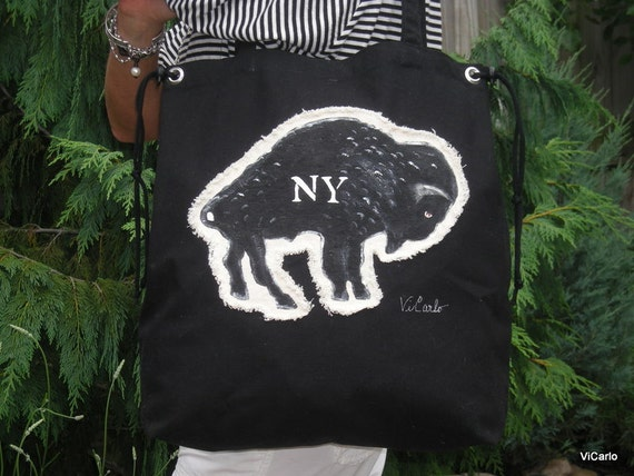 Black Canvas Buffalo NY Tote /  Made to order for now