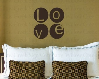 LOVE CIRCLES Vinyl Wall Decals Stickers Art Graphics Custom Lettering