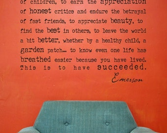 Emerson Success Vinyl Wall Lettering Words Decal Graphic Custom