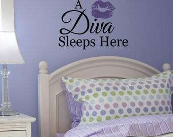 A diva Sleeps here Vinyl Wall Art lettering Girl Bedroom Words Decals Stickers International
