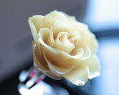 Ivory Rose RING - made by preserving organic REAL ROSE - Mini Rose Designs from Royal Princess Designs