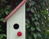 Rustic Melon Green Birdhouse with Vintage Red Drawer Pull