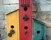 Row Houses For The Birds Triple Garden Birdhouse with Wrought Iron Antique Accents