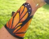 "Monarch Butterfly Wing - Leather Wrist Cuff - Medium Small Wrist 6.5-7"""