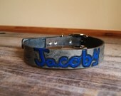 Create A Dog Collar - Pet Name with Nicknames -  MEDIUM SIZE - Hand Carved Leather