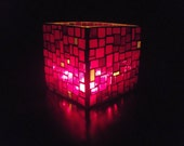40% off Sale Red Mosaic Vase or Candle Holder