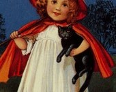 Vintage Halloween theme refrigerator fridge magnet -  girl witch black cat