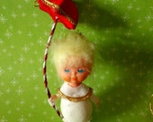 Vintage Flocked Angel Christmas Tree Ornament Japan