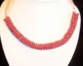 Beautiful Rose Colored bead Necklace - FREE SHIPPING