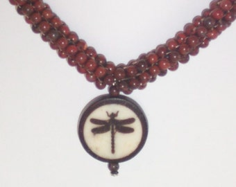 Poppy Jasper Beaded Dragonfly Pendant Necklace - FREE SHIPPING