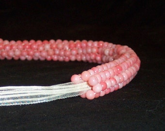 Pink Coral Beaded Necklace - FREE SHIPPING