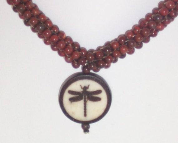 Poppy Jasper Beaded Dragonfly Pendant Necklace - FREE SHIPPING