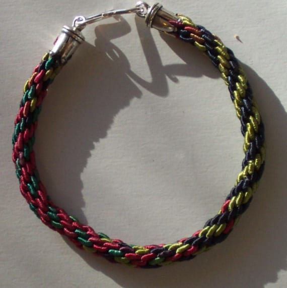 Blues, Greens and Reds Braided Friendship Bracelet - FREE SHIPPING