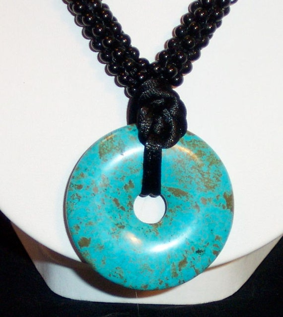 Turquoise and Gold colored Necklace - FREE SHIPPING