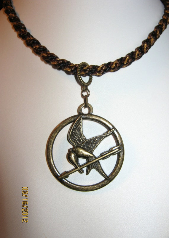Hunger Games Mockingjay Pendant Necklace - One of a Kind - Brown and Gold